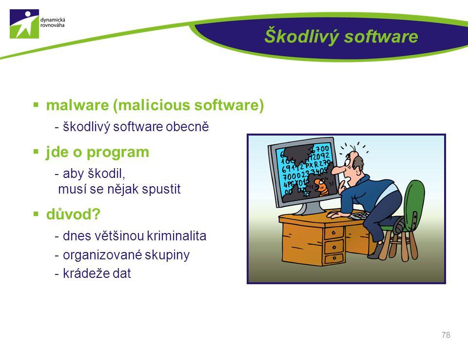 Škodlivý software malware (malicious software) jde o program důvod