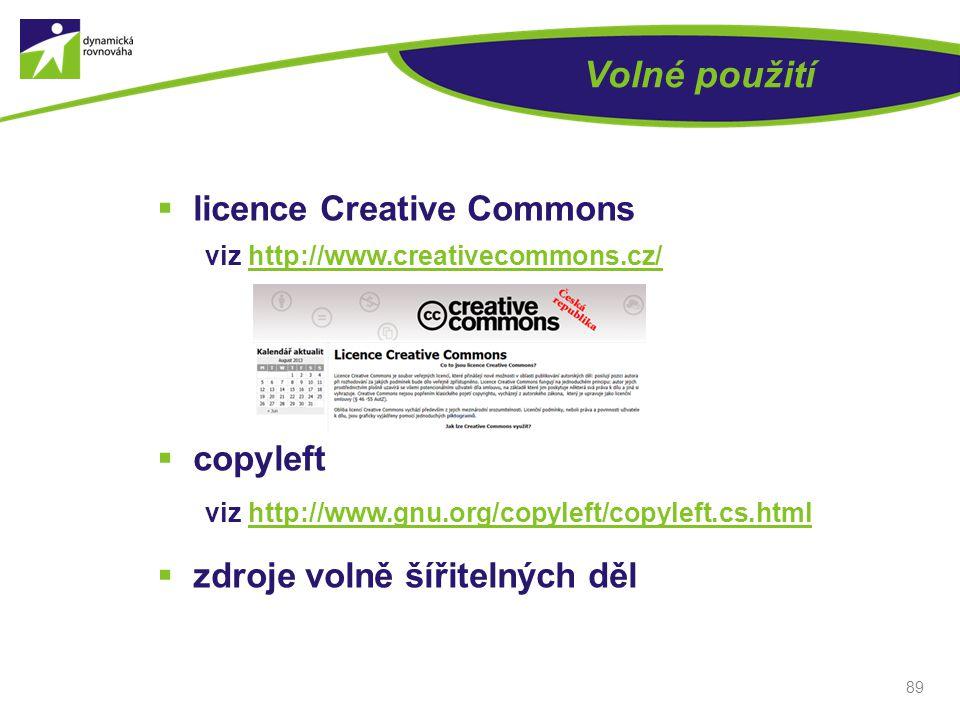 Volné použití licence Creative Commons copyleft