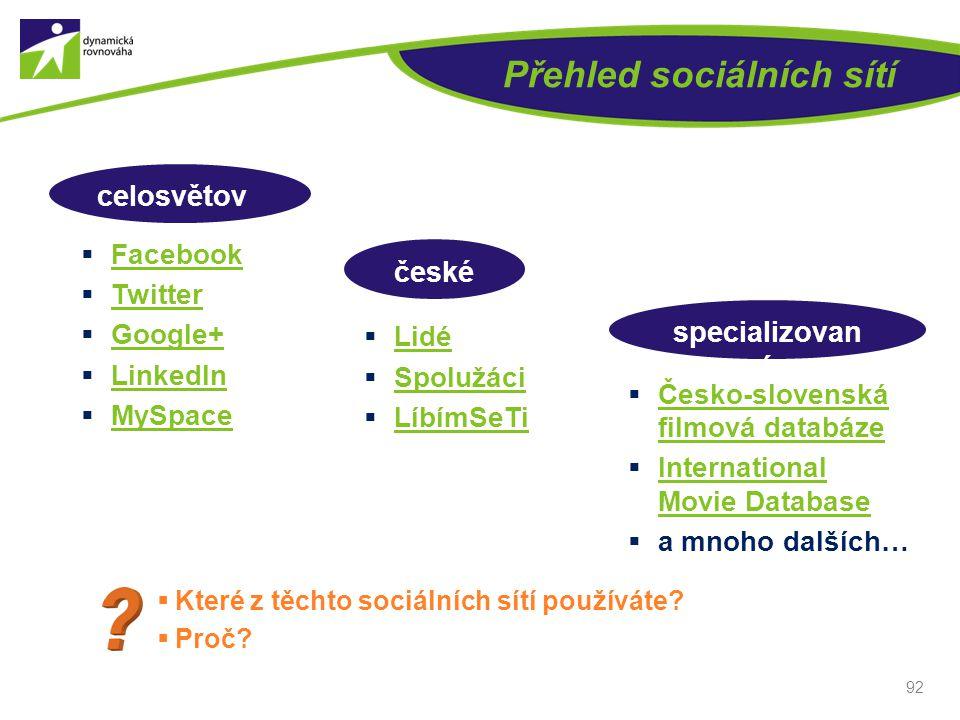 Přehled sociálních sítí