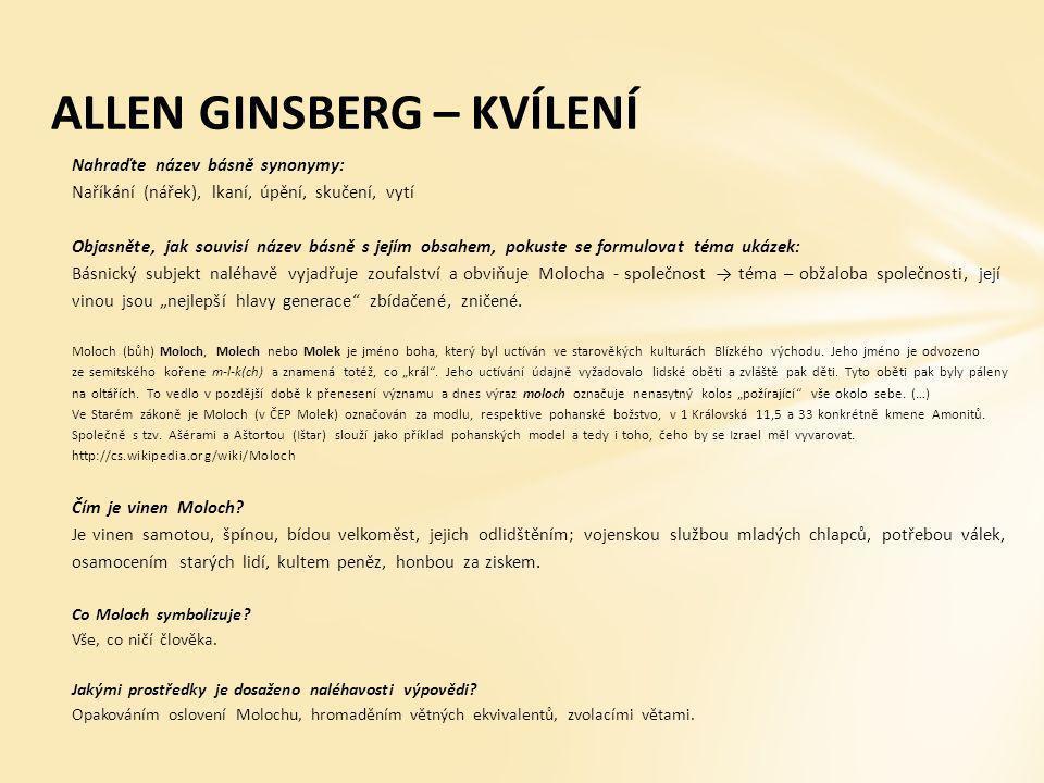 ALLEN GINSBERG – KVÍLENÍ