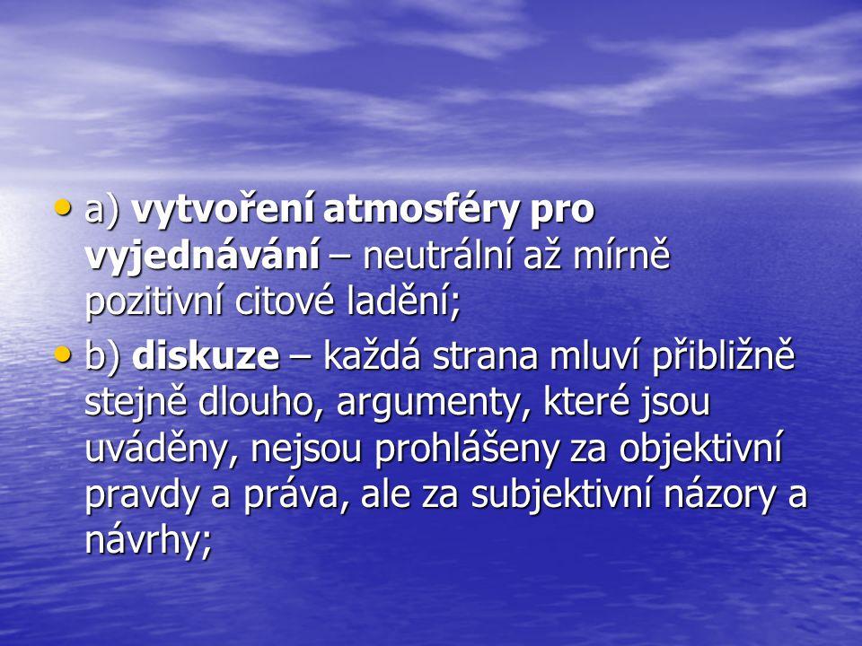 a) vytvoření atmosféry pro vyjednávání – neutrální až mírně pozitivní citové ladění;