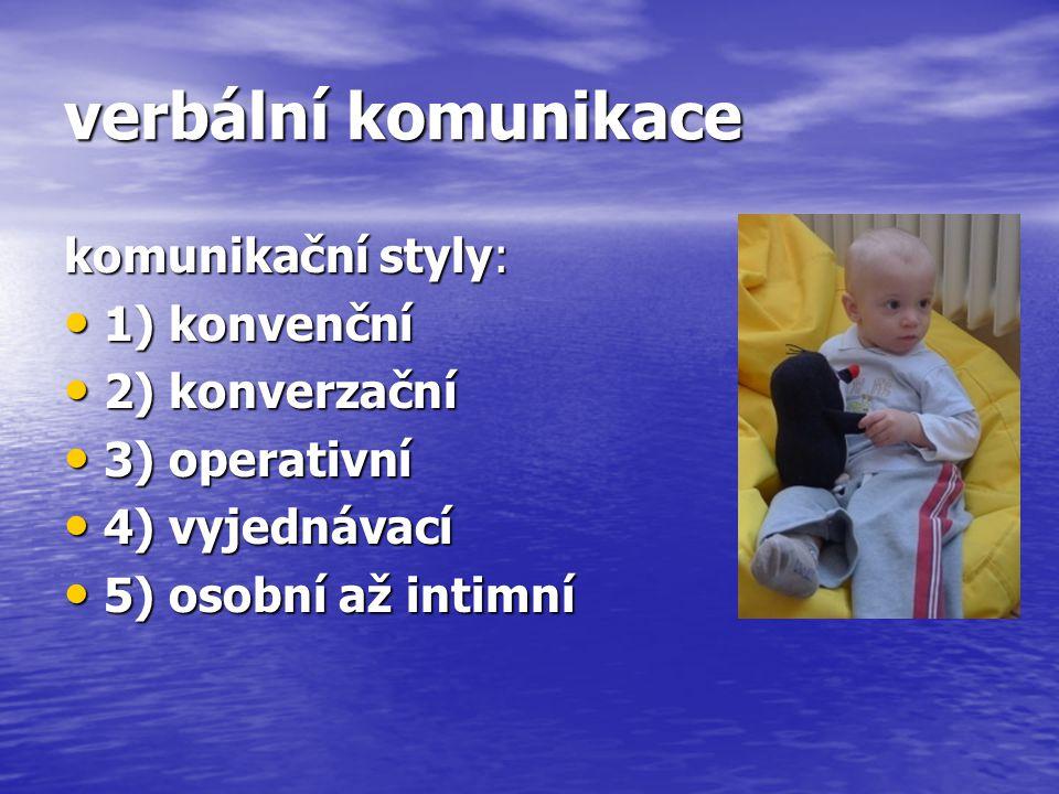 verbální komunikace komunikační styly: 1) konvenční 2) konverzační