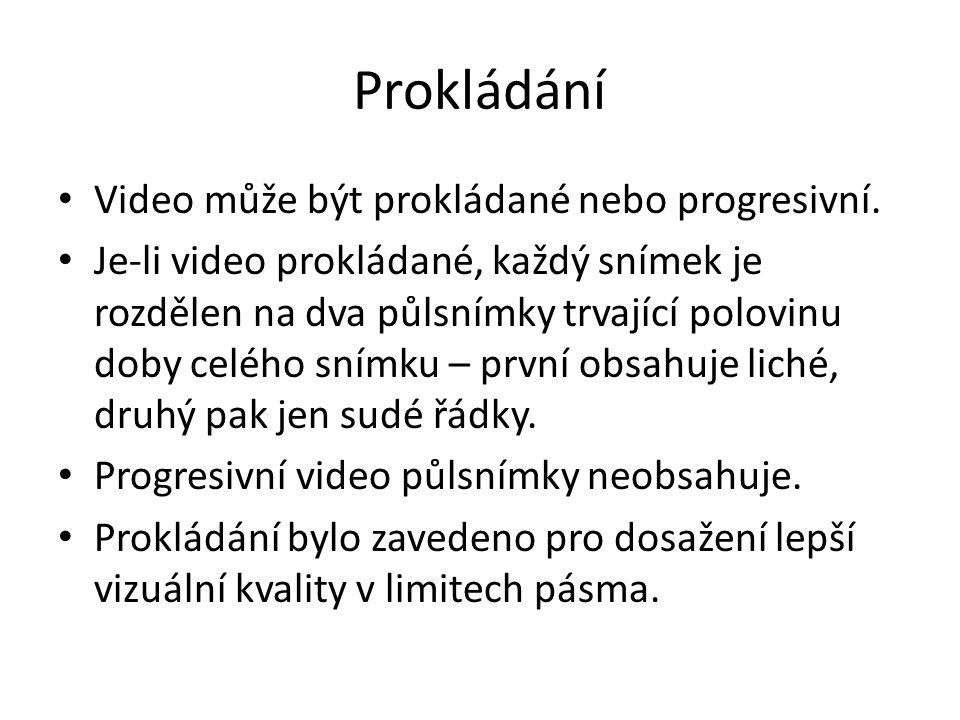 Prokládání Video může být prokládané nebo progresivní.