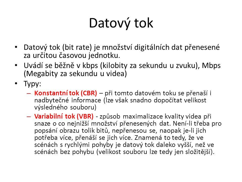 Datový tok Datový tok (bit rate) je množství digitálních dat přenesené za určitou časovou jednotku.