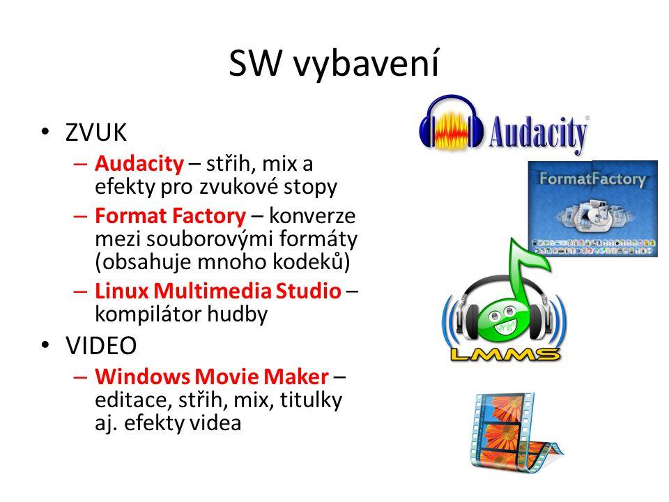 SW vybavení ZVUK. Audacity – střih, mix a efekty pro zvukové stopy. Format Factory – konverze mezi souborovými formáty (obsahuje mnoho kodeků)