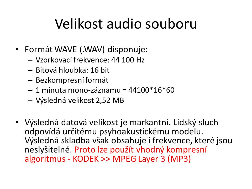 Velikost audio souboru
