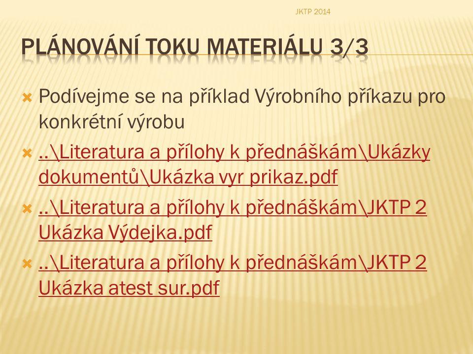 Plánování toku materiálu 3/3