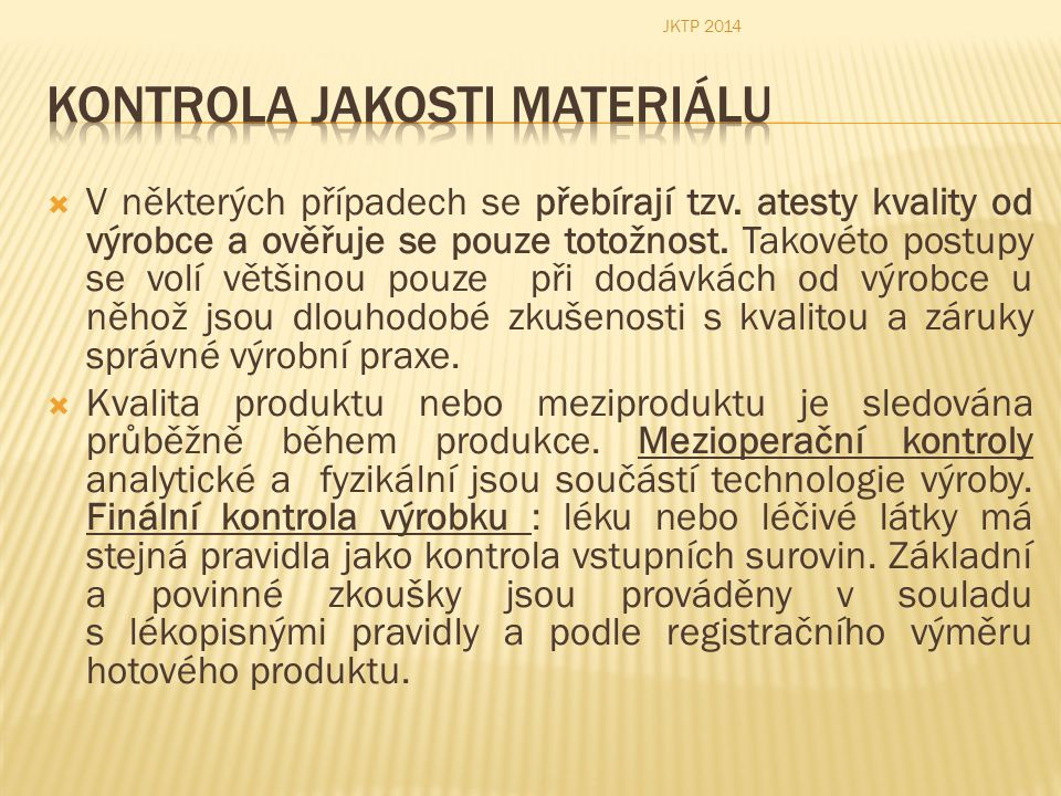 Kontrola jakosti materiálu