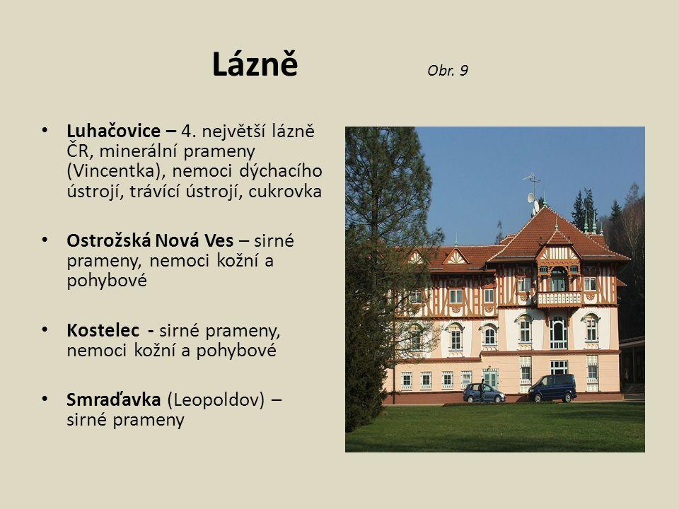 Lázně Obr. 9 Luhačovice – 4. největší lázně ČR, minerální prameny (Vincentka), nemoci dýchacího ústrojí, trávící ústrojí, cukrovka.