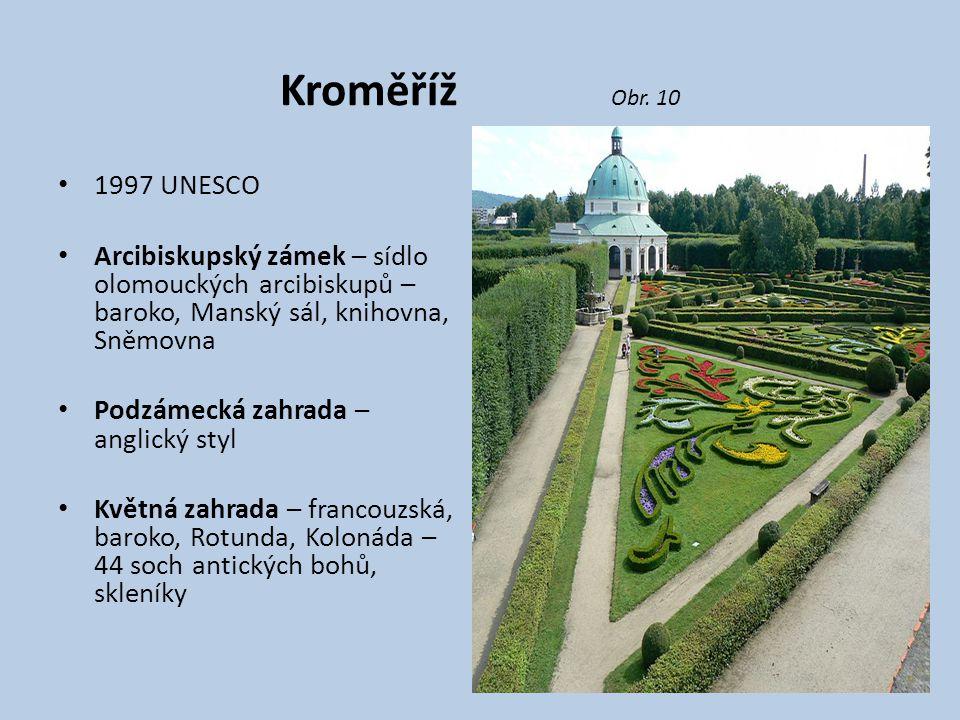 Kroměříž Obr. 10 1997 UNESCO. Arcibiskupský zámek – sídlo olomouckých arcibiskupů – baroko, Manský sál, knihovna, Sněmovna.