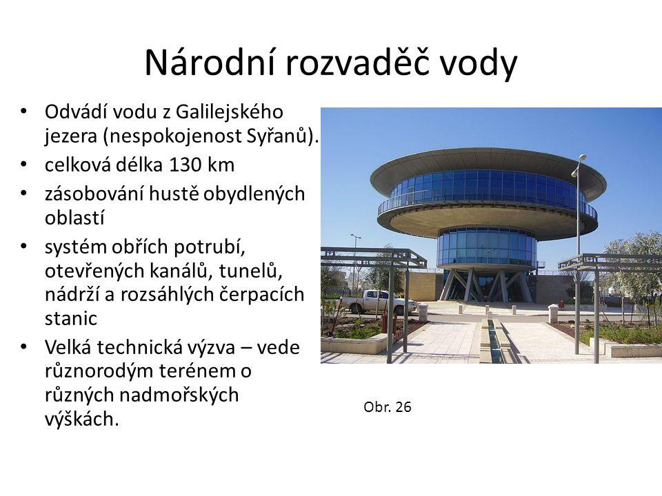 Národní rozvaděč vody Odvádí vodu z Galilejského jezera (nespokojenost Syřanů). celková délka 130 km.