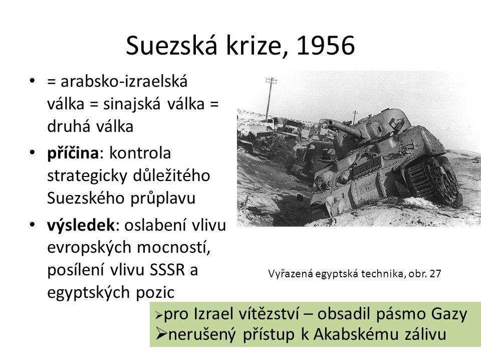 Suezská krize, 1956 = arabsko-izraelská válka = sinajská válka = druhá válka. příčina: kontrola strategicky důležitého Suezského průplavu.