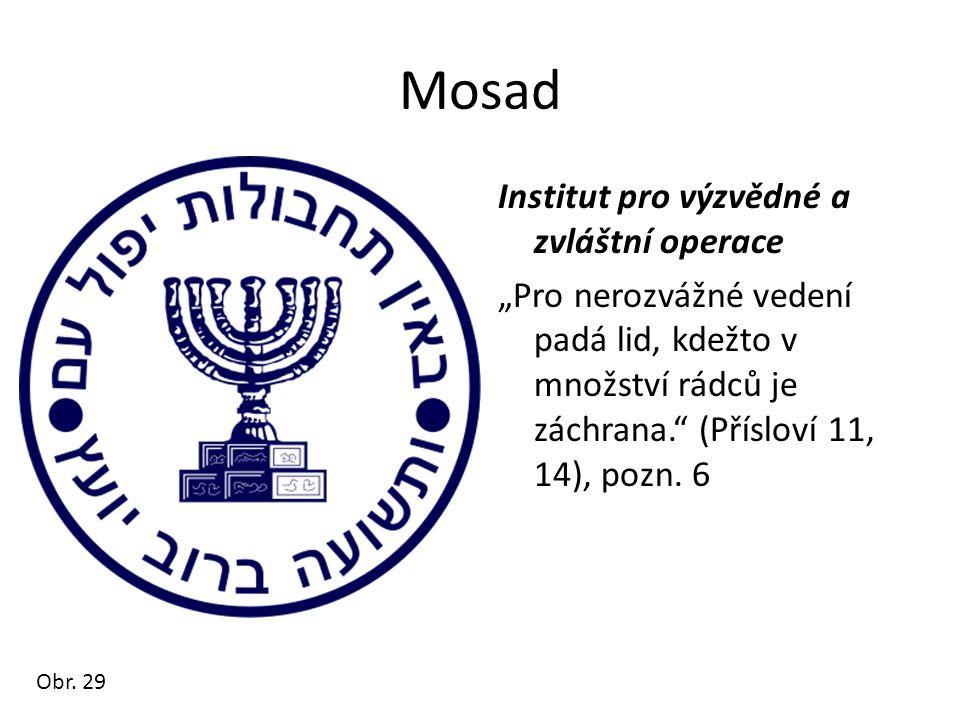"""Mosad Institut pro výzvědné a zvláštní operace """"Pro nerozvážné vedení padá lid, kdežto v množství rádců je záchrana. (Přísloví 11, 14), pozn. 6"""