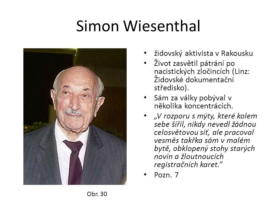 Simon Wiesenthal židovský aktivista v Rakousku