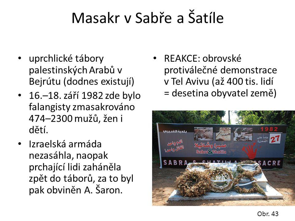 Masakr v Sabře a Šatíle uprchlické tábory palestinských Arabů v Bejrútu (dodnes existují)