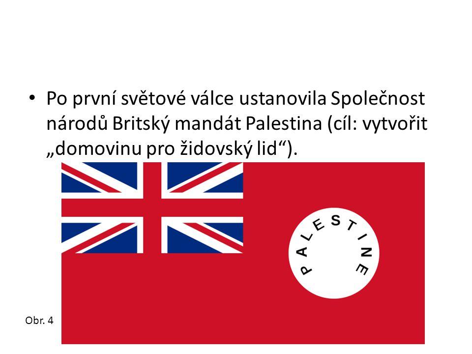 """Po první světové válce ustanovila Společnost národů Britský mandát Palestina (cíl: vytvořit """"domovinu pro židovský lid )."""
