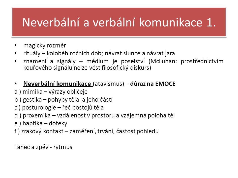 Neverbální a verbální komunikace 1.