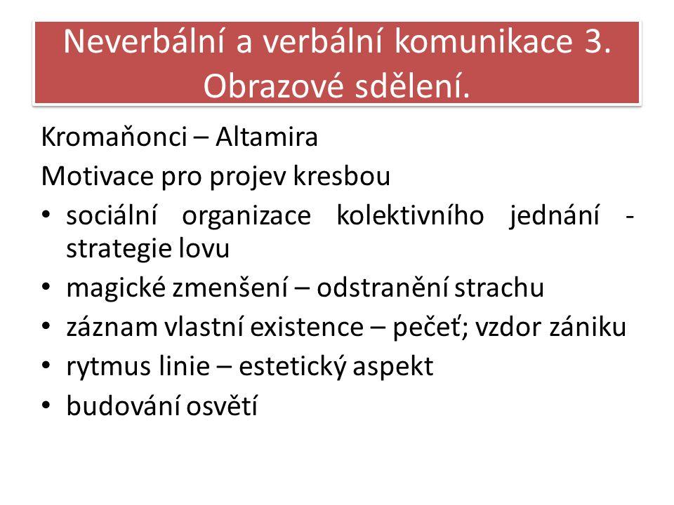 Neverbální a verbální komunikace 3. Obrazové sdělení.