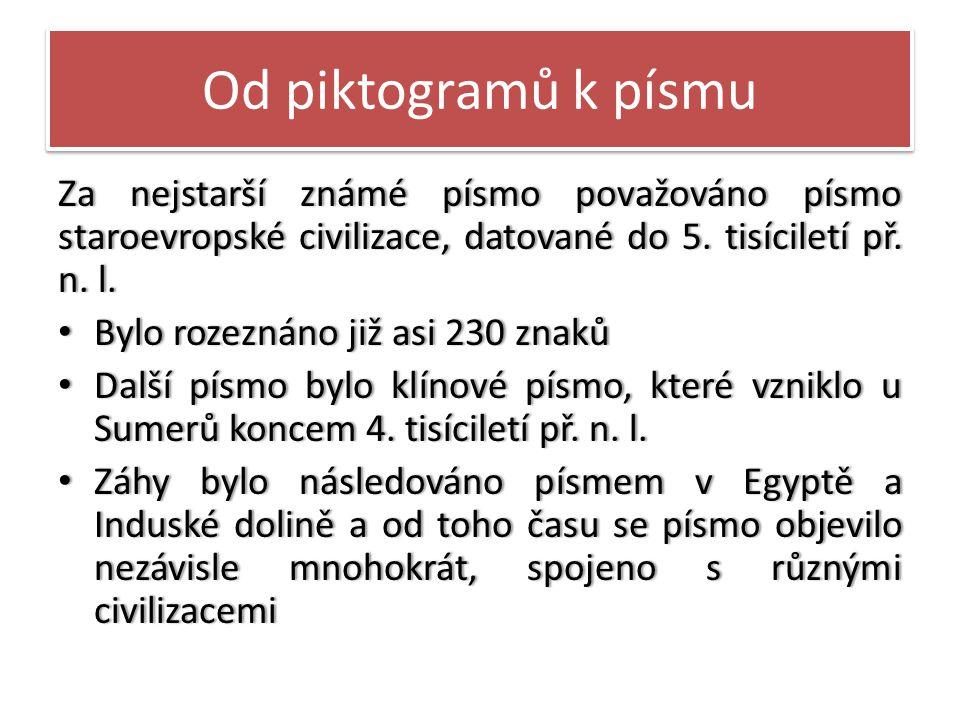 Od piktogramů k písmu Za nejstarší známé písmo považováno písmo staroevropské civilizace, datované do 5. tisíciletí př. n. l.