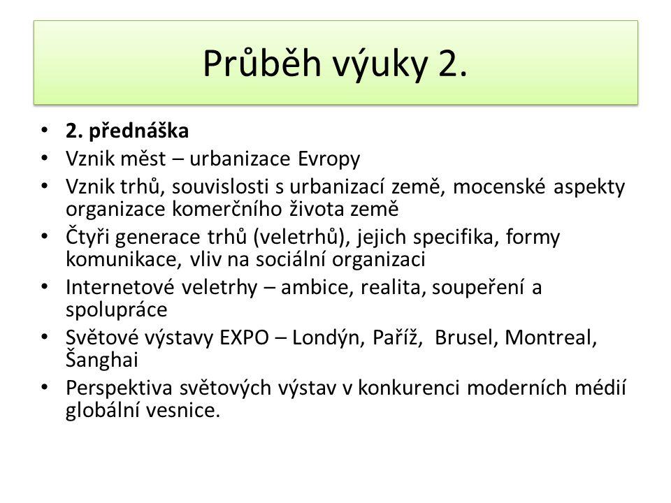 Průběh výuky 2. 2. přednáška Vznik měst – urbanizace Evropy