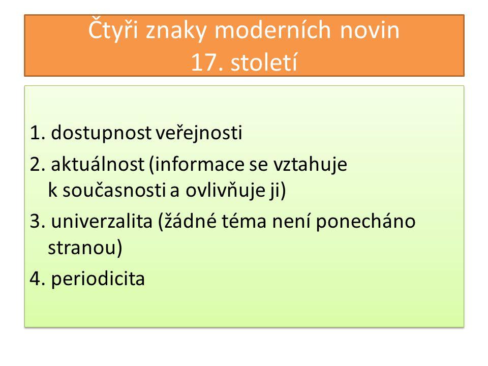 Čtyři znaky moderních novin 17. století