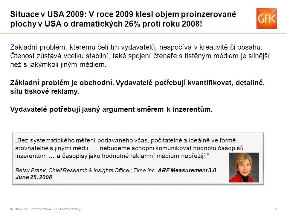 Situace v USA 2009: V roce 2009 klesl objem proinzerované plochy v USA o dramatických 26% proti roku 2008!