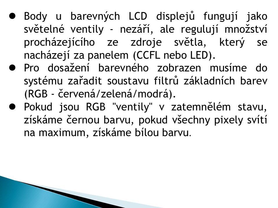 Body u barevných LCD displejů fungují jako světelné ventily - nezáří, ale regulují množství procházejícího ze zdroje světla, který se nacházejí za panelem (CCFL nebo LED).