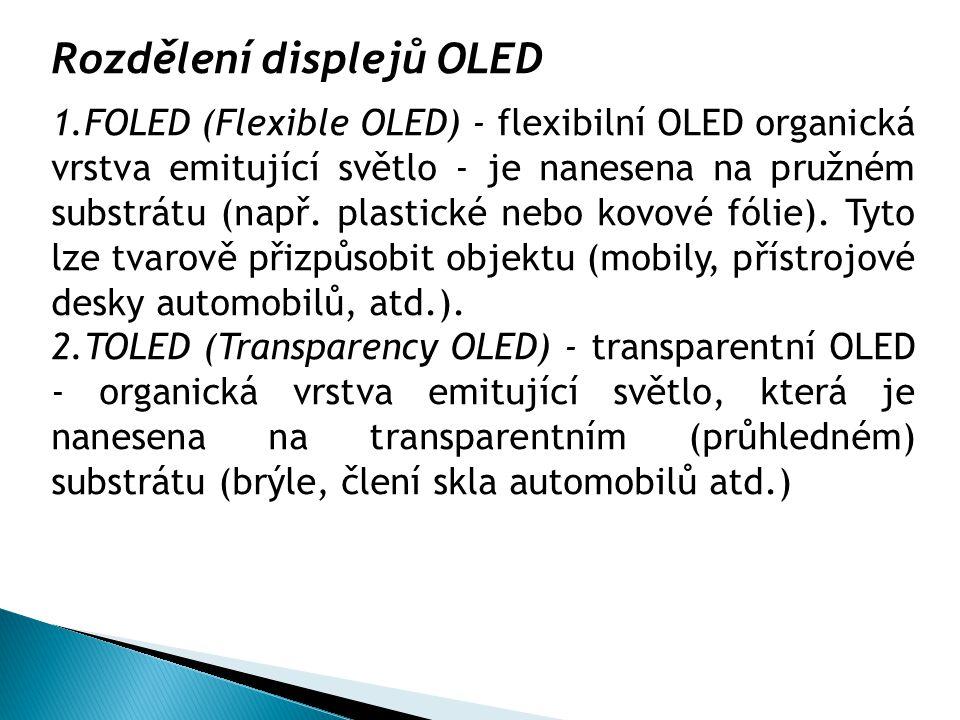 Rozdělení displejů OLED