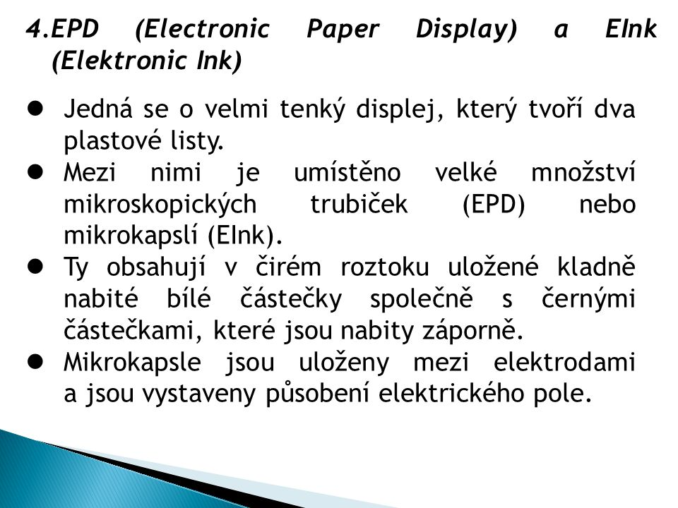 EPD (Electronic Paper Display) a EInk (Elektronic Ink)