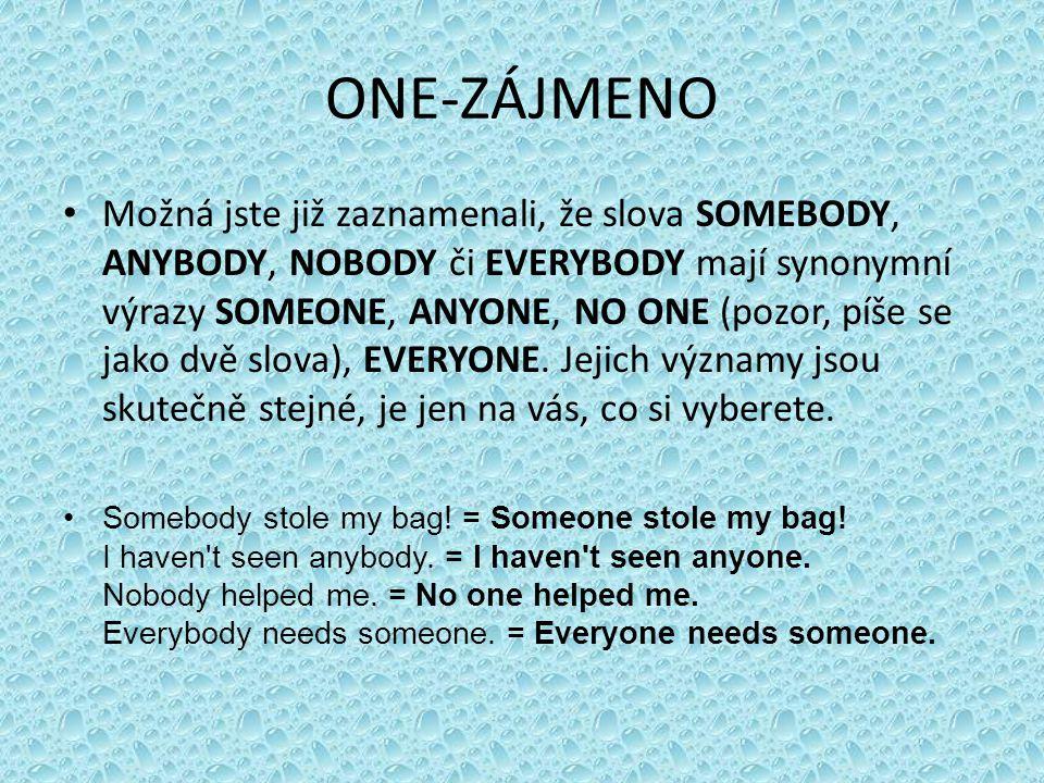 ONE-ZÁJMENO