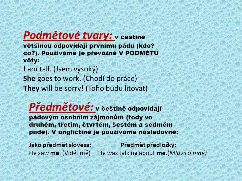 Podmětové tvary: v češtině většinou odpovídají prvnímu pádu (kdo co ). Používáme je převážně V PODMĚTU věty: