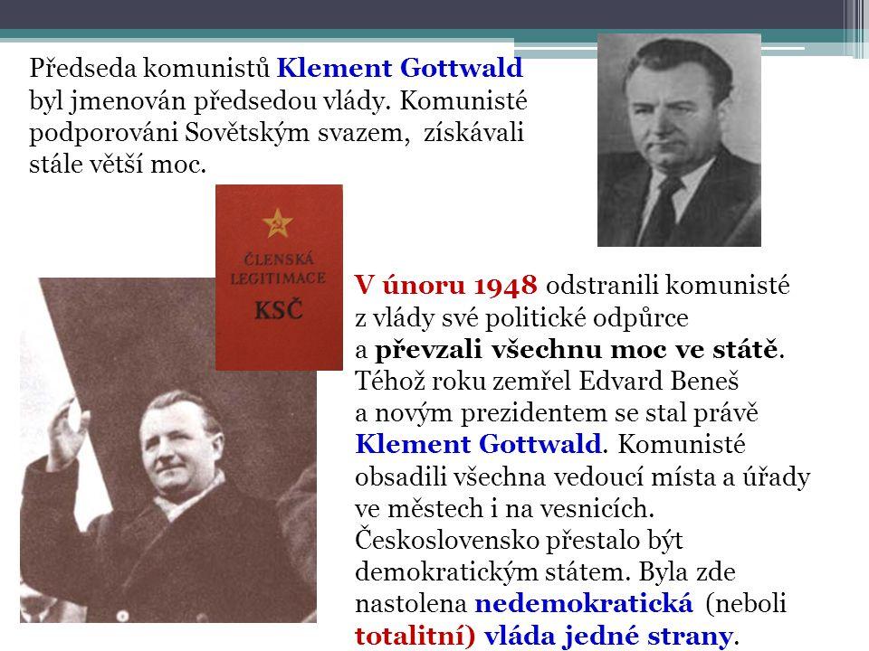 Předseda komunistů Klement Gottwald byl jmenován předsedou vlády