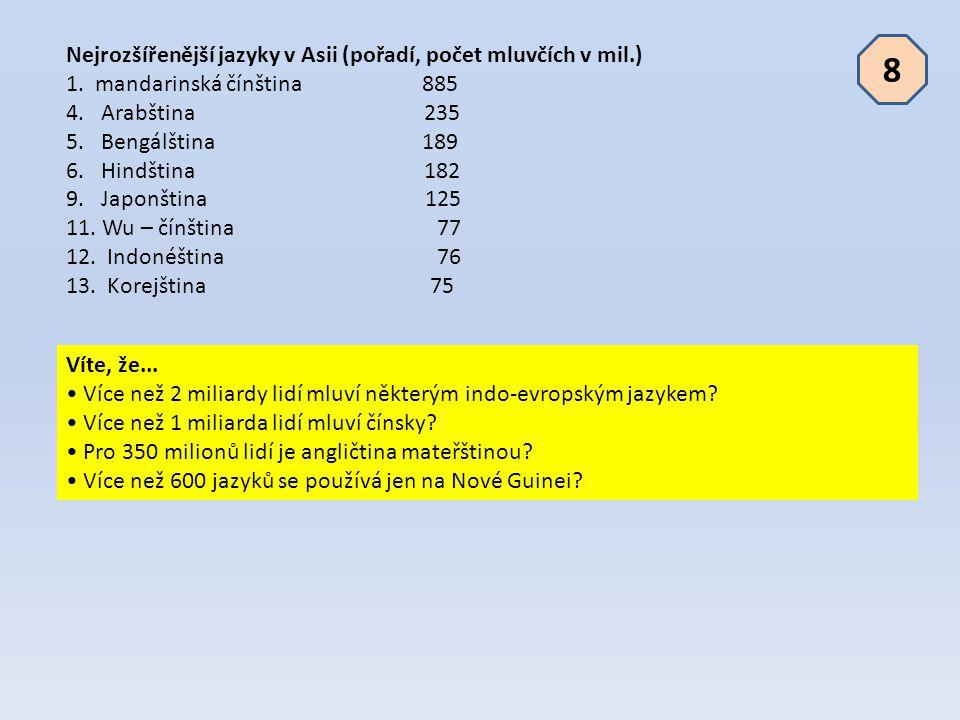 8 Nejrozšířenější jazyky v Asii (pořadí, počet mluvčích v mil.)
