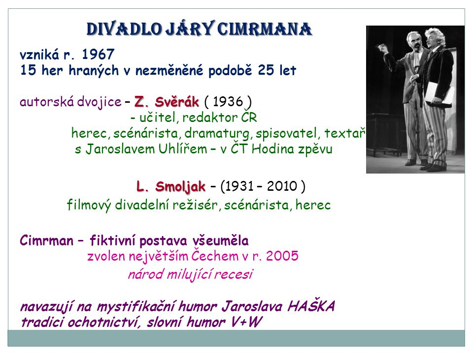 Divadlo járy cimrmana L. Smoljak – (1931 – 2010 )