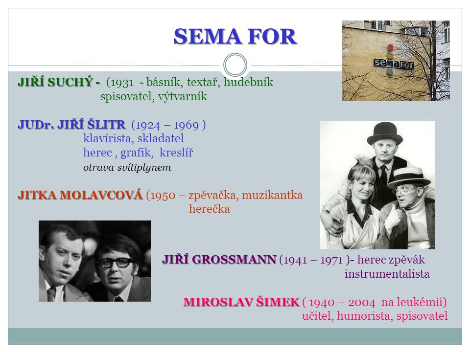 SEMA FOR JIŘÍ SUCHÝ - (1931 - básník, textař, hudebník