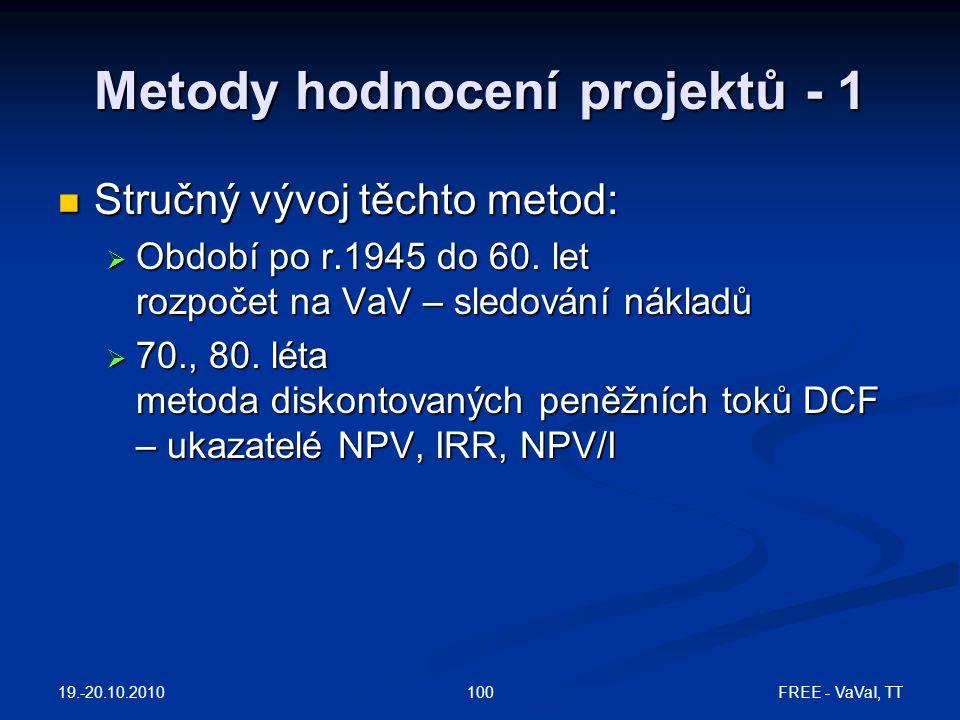 Metody hodnocení projektů - 1