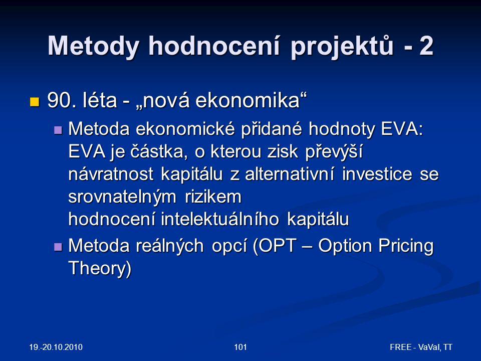 Metody hodnocení projektů - 2