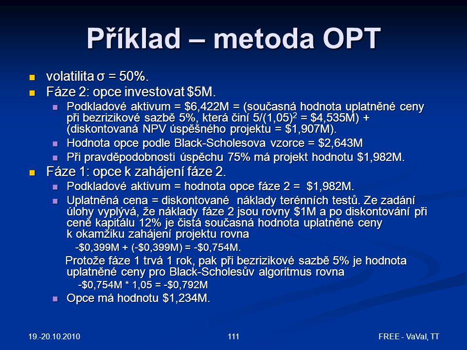 Příklad – metoda OPT volatilita σ = 50%. Fáze 2: opce investovat $5M.