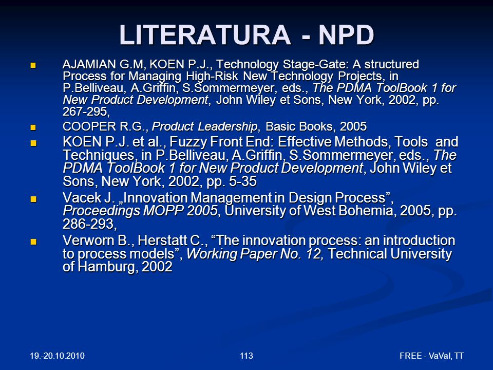 LITERATURA - NPD