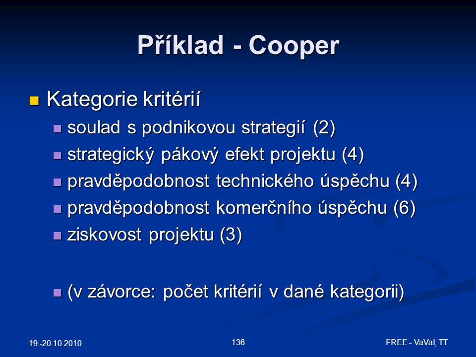 Příklad - Cooper Kategorie kritérií soulad s podnikovou strategií (2)