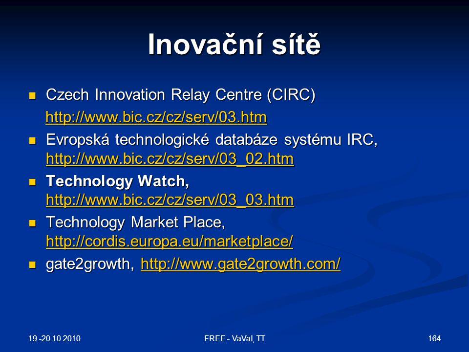 Inovační sítě Czech Innovation Relay Centre (CIRC)