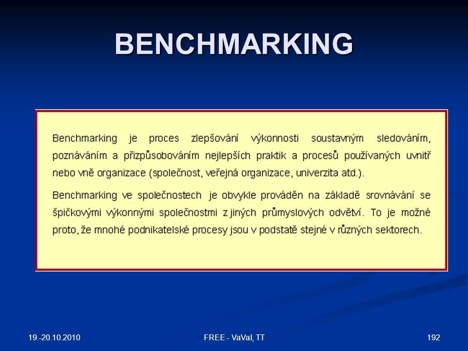 BENCHMARKING 19.-20.10.2010 FREE - VaVaI, TT