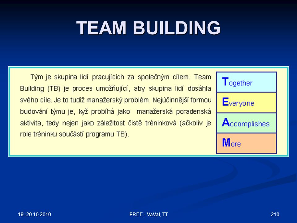 TEAM BUILDING FREE - VaVaI, TT