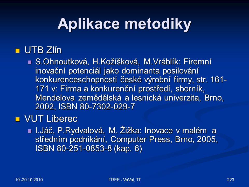 Aplikace metodiky UTB Zlín VUT Liberec