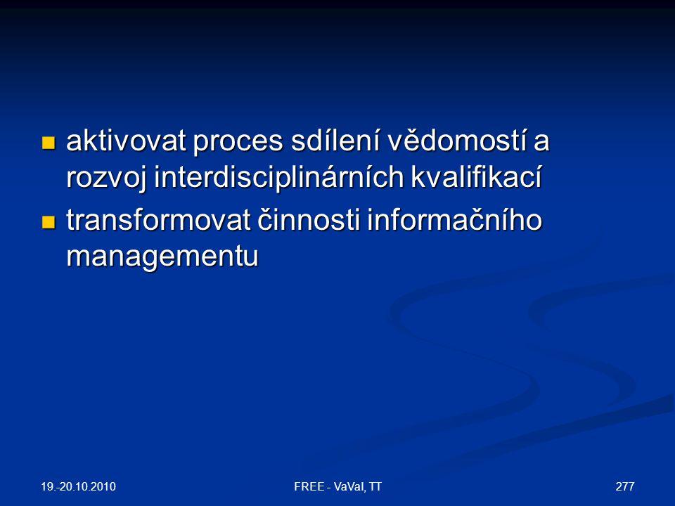 transformovat činnosti informačního managementu