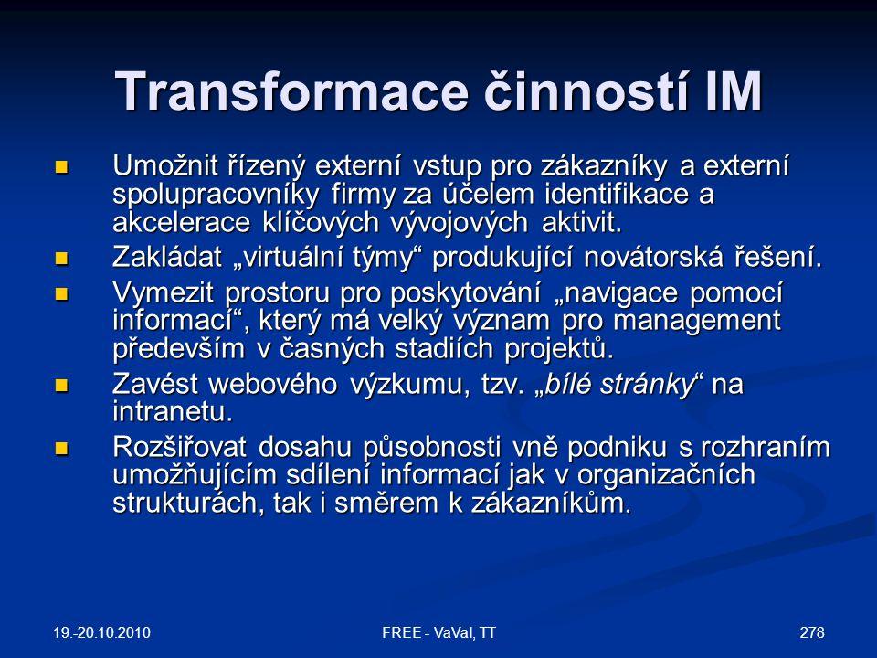 Transformace činností IM