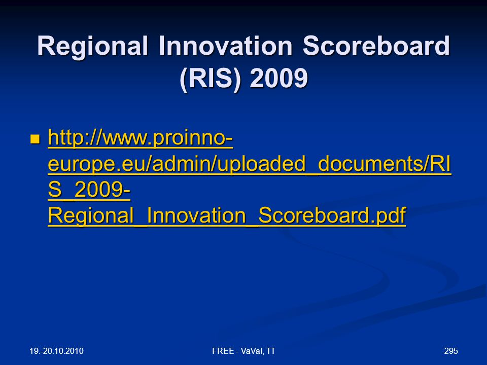 Regional Innovation Scoreboard (RIS) 2009