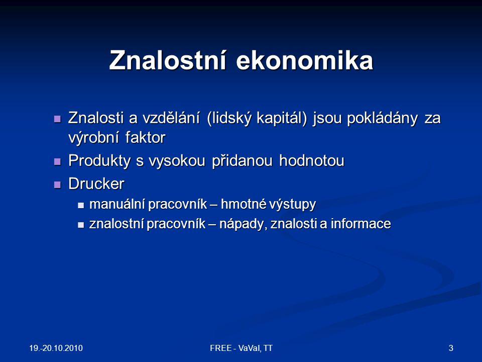 Znalostní ekonomika Znalosti a vzdělání (lidský kapitál) jsou pokládány za výrobní faktor. Produkty s vysokou přidanou hodnotou.