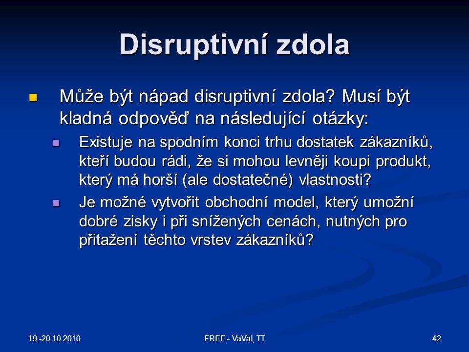 Disruptivní zdola Může být nápad disruptivní zdola Musí být kladná odpověď na následující otázky: