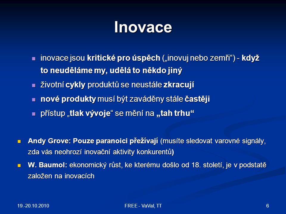 """Inovace inovace jsou kritické pro úspěch (""""inovuj nebo zemři ) - když to neuděláme my, udělá to někdo jiný."""
